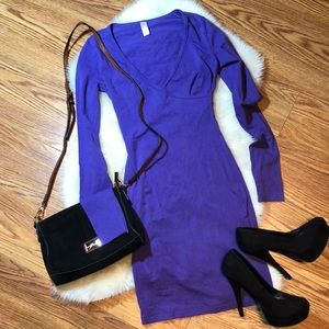 American Apparel purple body con dress